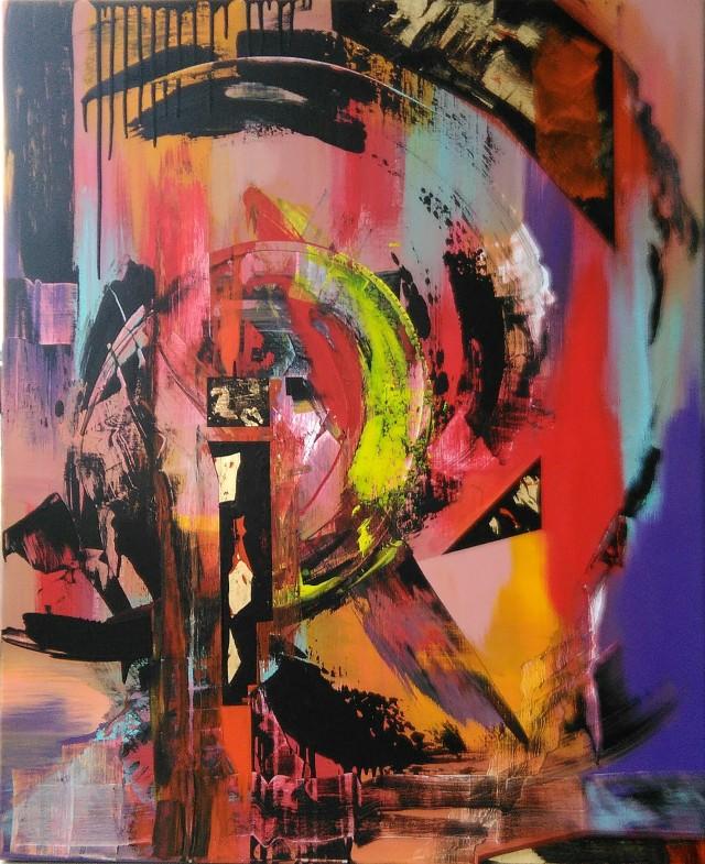"""""""imbued in a movement"""" technique mixte sur toile  80x100cm"""